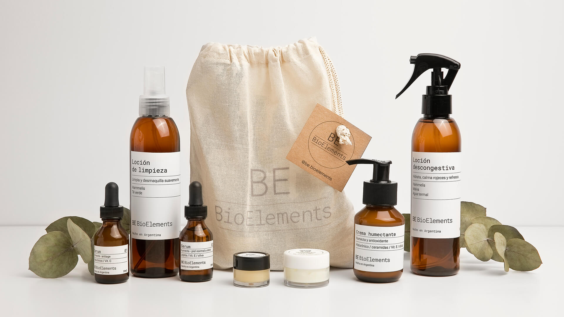 Identity and packaging for BE BioElements skincare cosmetics by FUERA